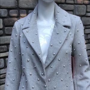 Badgley Mischka Grey Wool Coat w Pearls NWT sz S